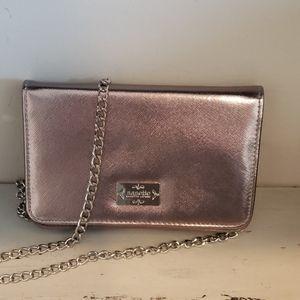 Nanette lepore saffiano pewter crosscody/wallet